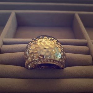 Large Hammered Gold Dome Ring